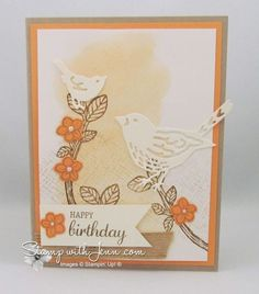 Stampin' Up! Best Birds Stamp Set and Birds & Blooms dies with Peekaboo Peach. This card made me love Peach!