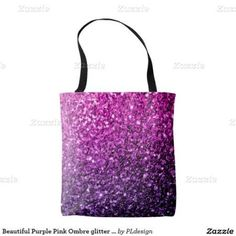 Beautiful Purple Pink Ombre glitter sparkles All Over Print Tote Bag by #PLdesign #PinkSparkles #SparklesGift