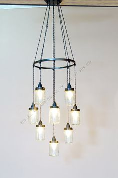 Romantic Heart Shaped Mason Jar Chandelier Lighting by bluesky3786. $219. PROBABLY TOO LONG, BUT A NICE VERSION OF THIS MASON JAR CHANDELIER IDEA.