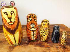Vintage Set of Hand Painted Jungle Cat Wooden Nesting Dolls by FreshtoDeathVintage