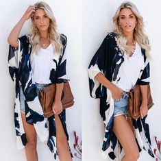 """4829de93033e6 VICIDOLLS on Instagram  """"RESTOCKED    BESTSELLER Morning Glory Kimono  38  One Size The Morning Glory Kimono features an ivory base with a navy and  cobalt ..."""