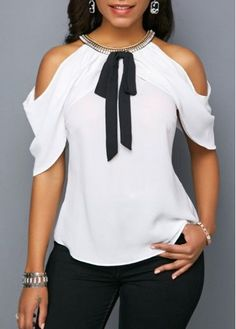 Shop Womens Fashion Tops, Blouses, T Shirts, Knitwear Online Trendy Tops, Casual Tops, Blouse Styles, Blouse Designs, Stylish Outfits, Fashion Outfits, Latest African Fashion Dresses, Cold Shoulder Blouse, Cold Shoulder Tops