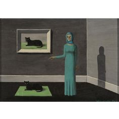 "I love this so hard.  Gertrude Abercrombie's ""Two Cats and a Lady"""