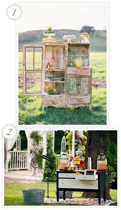 60 Ideas For Vintage Furniture Wedding Drink Stations Cool Kitchen Appliances, Vintage Furniture Wedding, Drink Table, Drink Bar, Wedding Cards Handmade, Wedding Rentals, Wedding Welcome, Drink Stations, Decoration