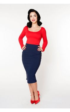 Pencil Skirt in Navy Blue Bengaline - Separates - Clothing | Pinup Girl Clothing
