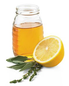 Cough-Control Tea  1. Pour hot water over 2 teaspoons organic lemon rinds, 1 teaspoon sage, and 1/2 teaspoon thyme. (Dried or fresh herbs can be used.)    2. Cover and steep for 15 minutes.    3. Strain tea, then add juice of 1/2 lemon and 1 tablespoon honey.    4. Drink two to three cups daily for cough relief.