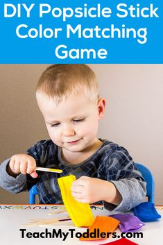 Discover how to use this popsicle stick matching game to teach colors. Color Games For Toddlers, Learning Games For Toddlers, Preschool Learning Activities, Fun Learning, Preschool Activities, Toddler Games, Teaching Shapes, Teaching Colors, Preschool Lesson Plans