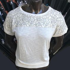 Dolman AB Studio Lace-Yoke Banded-Bottom Top Women's Size S Ivory Color NWT    eBay