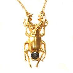 14k gold-plated beetle chain with Swarovsky crystal