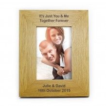 Personalised Oak Finish 6x4 Portrait Frame - Long Message