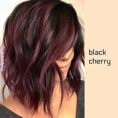 The long bob or lob is one of the most popular hair colors among women since last many years. We've compiled these amazing hair color ideas in this post for elegant and cute look. Wear these amazing bob hairstyles with various bob hair color highlights Hair Color And Cut, Ombre Hair Color, Cherry Hair Colors, Black Cherry Hair Color, Fall Hair Colors, Brown Hair Colors, Pelo Color Vino, Medium Hair Styles, Curly Hair Styles
