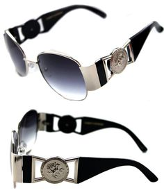 b64793ae4896 Medusa Metal Gold Logo Black Silver Aviator Sunglasses Vintage Hip Hop  Rapper
