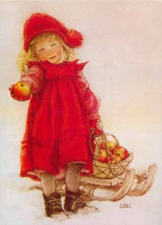 "Carl Larsson,""En liten äppelflicka"", ( Little Apple Girl) Vintage Christmas Cards, Christmas Pictures, Christmas Art, Vintage Cards, Vintage Postcards, Xmas, Christmas Presents, Christmas 2019, Carl Larsson"