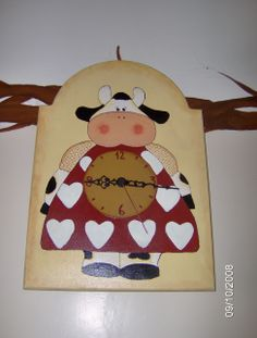 orologio mucca con tecnica country painting