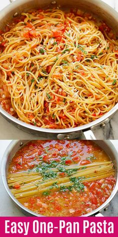 One-Pan Pasta - BEST pasta from scratch in a pan. Throw all ingredients .- One-Pan Pasta – BESTE Pasta von Grund auf in einer Pfanne. Wirf alle Zutaten …… One-Pan Pasta – BEST pasta from scratch in a … - Easy Pasta Recipes, Easy Dinner Recipes, Chicken Recipes, Easy Meals, Weeknight Meals, Fresh Tomato Recipes, Fresh Tomato Pasta Sauce, Mexican Pasta Recipes, Meatless Pasta Recipes