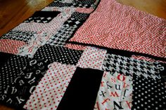 Black, Red and White Quilt... my secret love, text fabric!
