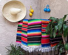 a mexican blanket to go at the end of the bed, possibly? Mexican Fiesta Decorations, Mexican Fiesta Party, Mexican Costume, Mexican Celebrations, Mexican Style, Party Themes, Party Ideas, Party Party, Mexican Blankets