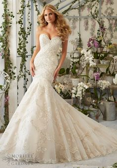 "Wedding Dresses and Wedding Gowns by Morilee featuring Embroidered Appliques and Edging with Crystal Beading on Tulle Available in Three Lengths: 55"", 58"", 61. Colors available: White/Silver, Ivory/Silver"