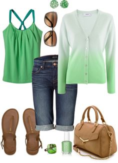 """Green Ombre Cashmere Cardigan"" by fun-to-wear on Polyvore"