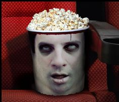 Print out zombie head with the measurements. Glue to popcorn bowl. Than sit down the night of Halloween with love one's. Enjoy some scary movies with your zombie brain pop corn.