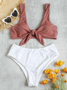 Two Tone Tied High Waisted Bikini Set OFF] Marble bandeau bikini set, in white M Floral Bikini Set, Bandeau Bikini Set, Two Piece Swimwear, Cute Bathing Suits, Cute Bikinis, Swimwear Fashion, Bikini Fashion, Tankini, Models