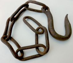 Vintage Rusty Hook with Chain Rustic Industrial by Rockintherust, $12.00