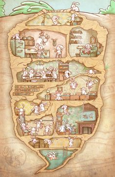 jason-kirschner-rabbit-hole Fantasy World, Fantasy Art, Plakat Design, Isometric Art, Cute Illustration, Cartoon Illustrations, Fantasy Landscape, Whimsical Art, Animes Wallpapers