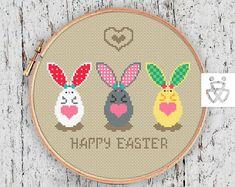 Сross stitch pattern pdf Easter Bunny Egg Funny Modern Easy  #CrossStitchPattern   #CrossStitchPatternPDF  #CrossStitch  #Yelka  #YelkaName #YelkaStudio #EasterCrossstitch
