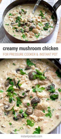 Creamy Instant Pot Chicken Stew With Mushrooms & Garlic