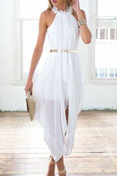 Feminine Cut With White Elegant Sheer Chiffon Trendy Women Dress