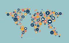 World map flat social media icons
