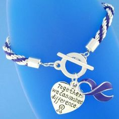 "12 Purple Ribbon ""Together we can make a difference"" Charm Bracelets - Rope Style - Great for Relay for Life Cancer or other Awareness Event Fundraising Fundraiser,$13.95"