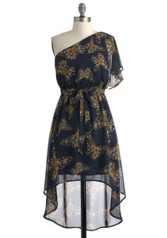 Butterfly Affection Dress - Mid-length, Blue, Yellow, White, Print with Animals, Party, One Shoulder, Summer, Belted, High-Low Hem