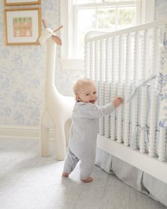 Sweet and traditional baby boy blue and white nursery