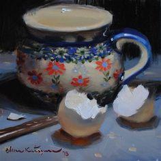 """A Bowl  and  Two Eggshells"" - Original Fine Art for Sale - © by Elena Katsyura"