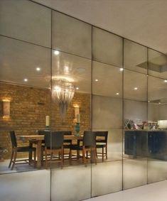 Antique Mirror Glass, Mirror Mirror, Antiqued Mirror, Mirror On The Wall, Wall Of Mirrors, Wall Mirror Ideas, Mirror Decor Living Room, Wall Decor, Glass Wall Design