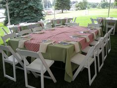Sage linens with the mauve plaid overlay and beige napkins for the family table.