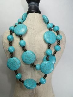 Turquoise Howlite Long necklace Chunky toggle clasp by RellimD, $30.00