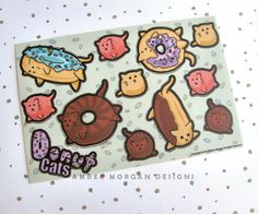 You know what you need in your life? Donut cats! These little guys are half donut, half cat, and have no idea how they got this way. Its their reality now, their adorable, delicious reality! Its a boon for all of us, but for them... well, their faces full of confusion say it all!  These are the same size as my Donut Cats sticker flakes, however they are printed on vinyl - making them more durable and ideal for decorating your laptop, phone, car, etc…