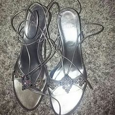 Stuart Weitzman bronze string up sandals Jewels encrusted wedged heel  leather  sandals,.heel is 3.5 inches high ...shoe straps are 50inches each..shoe is in excellent  condition Stuart Weitzman Shoes