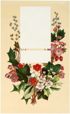 Lovely Vintage Floral Label with Holly Image!