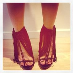 Idea: make fringe ankle add ons to update summer wedges for fall. Ribbon tie in back or snap button so they can be worn with any shoe