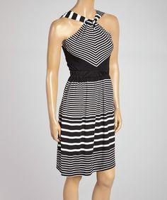 Rain Black Stripe Halter Dress