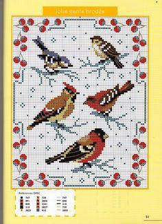 Winter birdies cross stitch pattern