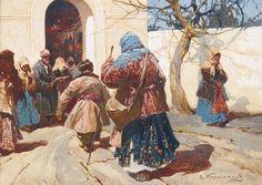 Stepan Fedorovich Kolesnikov / AT THE CHURCH DOOR AND WASHERWOMAN IN WINTER.