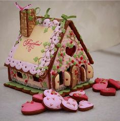 Gingerbread House Designs, Gingerbread House Parties, Christmas Gingerbread House, Gingerbread Cookies, Christmas Cookies, Gingerbread Houses, Cookie House, House Cake, Graham Cracker House