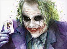 The Joker, Dark Knight Art Print of Watercolor Painting by OlechkaDesign on Etsy https://www.etsy.com/listing/216494694/the-joker-dark-knight-art-print-of