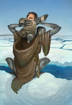 Qalupalik is an Inuit mythological creature. It is a human-like creature that lives in the sea, with long hair, green skin, and long fingernails. The myth is that qalupaliks wear an amautiit (a form of pouch that Inuit parents wear to carry their children) so they can take babies and children away who disobey their parents. Qalupalik 2 by joy-ang.deviantart.com on @DeviantArt