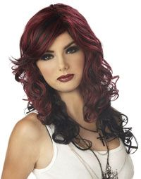Burgundy and Black Rock Vixen Wig - Costume Wigs