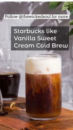 Cold Brew Coffee Recipe, Diy Cold Brew Coffee, Coffee Recipes, Starbucks Recipes, Brewing, Nespresso Recipes, Cream, Vanilla, Cold Brew At Home
